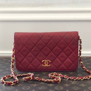 Chanel Red Quilted Small Mini Flap Vintage WOC Bag
